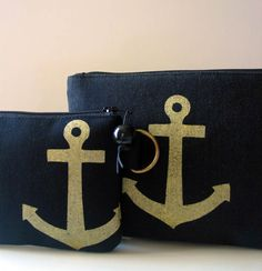 Gold on black anchor changepurses - Hummingbird Factory