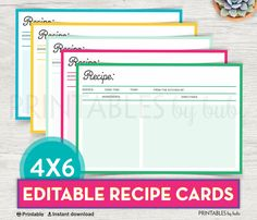 Printable Recipe Card, Editable Recipe Card Printable, DIY Recipe Card, Bridal Shower Recipe Card Template PDF Instant Download by cardsbybubi on Etsy https://www.etsy.com/listing/524420855/printable-recipe-card-editable-recipe