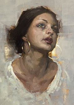 """Portrait Study 4"" - Jeremy Mann (b. 1979), oil on panel, 2014 {figurative art beautiful female head brunette woman face portrait cropped painting #loveart} <3 redrabbit7.com"