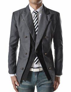TheLees (NJK9) Mens Slim Fit Double Arrange 1 Button Blazer Jacket Darkgray $62.50