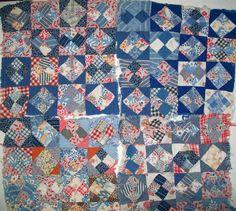 "SOLD!   12 Vintage Quilt Blocks 10""-11"" Square Old Feedsack Plaid Solids Blue Red Brn"