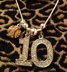 "16"" Personalized Rhinestone Sports Jersey TWO Number Necklace SOFTBALL Charm MOM"