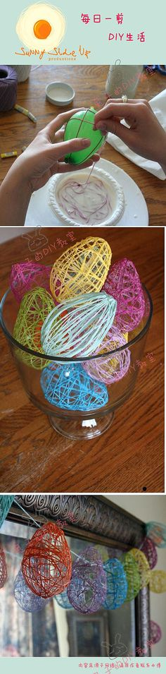 Easter Egg string craft. I made this with k/1's (2013 Easte)r and inside we put a chick and chocolate eggs.