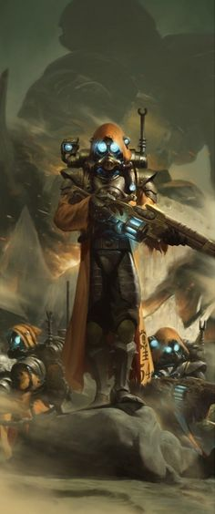 Warhammer 40k - Skitarii, JiHun Lee on ArtStation at https://www.artstation.com/artwork/warhammer-40k-skitarii