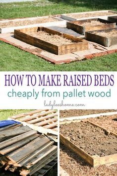 How to make raised beds cheaply using pallet wood. You can source this wood free and the construction is super easy and fast! This is a step by step picture tutorial on how to build a raised bed cheaply. Pallets Garden, Wood Pallets, Pallet Wood, Pallet Gardening, Outdoor Pallet, Gardening Tips, Pallet Greenhouse, Pallet Fence, Gardening Books