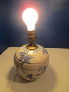 Stoneware Salt Glaze Pottery Lamp Blue Floral RFP Robert Fishman RI Electric
