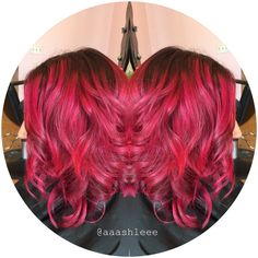 Pink ombre Pravana magenta special effects bright ️Hair punk fun lob long bob angled