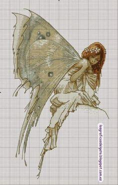 Precioso gráfico de un hada con alas de mariposa...