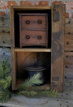 Very primitive old square nail box that makes a wonderful hanging or sitting cabinet.. very thick and wonderful patina.