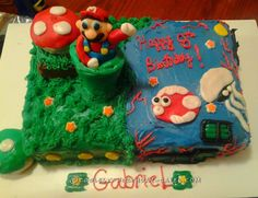 Land/Water Mario Themed Cake... Coolest Birthday Cake Ideas