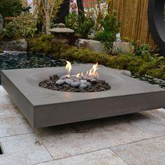 Solus Halo Fire Pit: 48 inch. cast concrete modern, low profile
