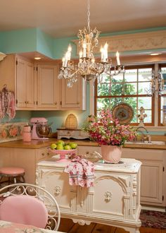 Light blue, pink, and white kitchen. So Pretty and feminine!