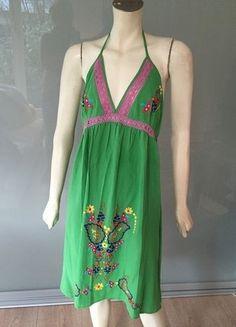 Kaufe meinen Artikel bei #Kleiderkreisel http://www.kleiderkreisel.de/damenmode/kurze-kleider/145774213-classico-hippie-kleid-38-grun-bunt-bestickt-neckholder-empire-top-dress-green-m