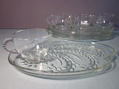 Vintage Snack Plate and Cup set 8 piece Federal Glass Homestead. Love these!!!