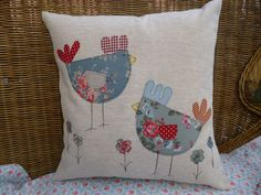 Handmade Oatmeal Linen Cushion Hens Cath Kidston & Laura Ashley fabric 16x16"