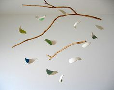 ceramic bird mobile -- for the granddarlings' rooms?