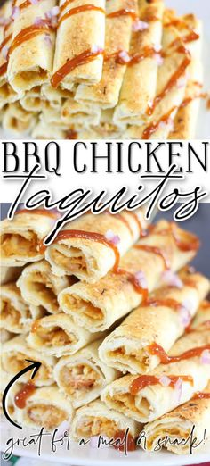 EASY BBQ CHICKEN TAQUITOS RECIPE Delicious Dinner Recipes, Lunch Recipes, Yummy Food, Yummy Recipes, Easy Bbq Chicken, Easy Chicken Recipes, Shredded Chicken, Chicken Taquitos, Taquitos Recipe
