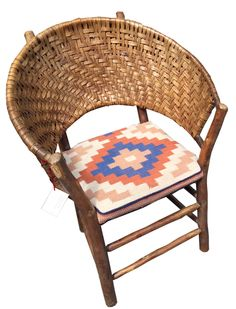 """Old Hickory """"Lotus"""" style bark woven chair with Navajho style cushion seat, Available, Christibys SOLD Old Hickory Furniture, Log Furniture, Furniture Making, Cafe Chairs, High Chairs, Adirondack Chairs For Sale, Woven Chair, Mountain Living, Wicker Baskets"""