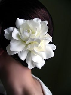Southern gardenia in her hair... lovely use of dark and light... the skin and curve of her neck complimented by the shape of the silky petals. Beautiful shot.