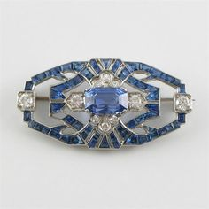 Art Deco sapphire and diamond plaque brooch