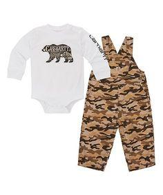 Look at this #zulilyfind! White 'Carhartt' Bodysuit & Tan Camo Ripstop Overalls - Infant #zulilyfinds