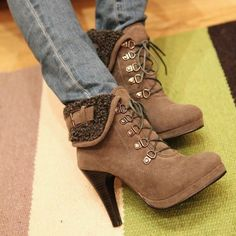 Stylish Womens Winter Elegant Ankle Boots High Heels Lace Up Shoes Pump
