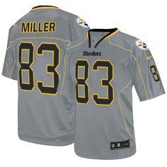 4ab18bf9f97 Men s Nike Pittsburgh Steelers  83 Heath Miller Elite Lights Out Grey Jersey   119.99 Antonio Brown