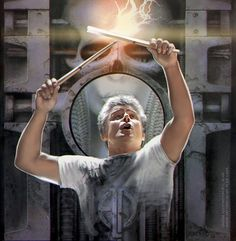 Carl Palmer of Emerson Lake and Palmer, the man with the sticks of lightning.a digital painting over a background scan of Brain Salad Surgery cover. Brain Salad Surgery, Greg Lake, Emerson Lake & Palmer, Progressive Rock, Pink Floyd, Rock Music, The Beatles, Rock N Roll, Drummers