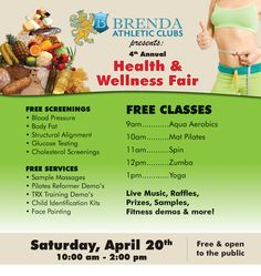 Come to our Annual Health and Wellness Fair on Saturday April 20th! This will take place after our Family Fit and Fun Run and is free to the public! Learn about the health and wellness resources we have in our area. If you own a business and are interested in becoming a vendor, please email events@brendaathletics.com or call 571-2582. For more information, visit our Facebook event page: https://www.facebook.com/events/408827305866810/?fref=ts