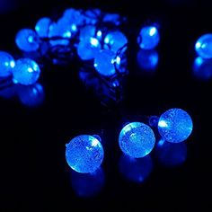 LMID Solar Outdoor String Lights 4.8m 20 LED Crystal Ball Christmas Globe Lights for Garden Path Party Bedroom Decoration (Blue) ** Find out more details @