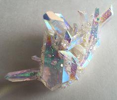 Angel Aura Crystal Cluster Arkansas Specimen Pastel Rainbow Quartz by MudStonesandMustangs on Etsy