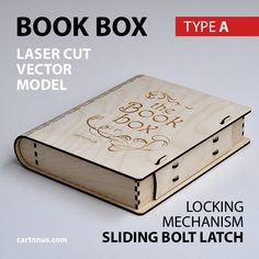 Wooden BOOK-BOX with sliding bolt latch.  Vector model / project plan for laser cutting.  3 Lock types in 1 set!   http://cartonus.com/book-box/
