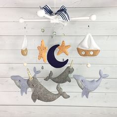 Excited to share this item from my shop: Sailboat & Sea Creatures Traditional Mobile Sailboat Nursery, Sea Nursery, Nautical Nursery, Whale Mobile, Cot Mobile, Baby Mobile Felt, Baby Mobiles, Nursery Themes, Nursery Ideas