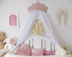 Crib Canopy Bed Crown Pink Princess Wall Decor & Crown Canopy Wall Decor Choice of Color with Sheers | Canopy ...