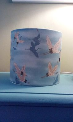 20cm drum lampshade Robert Kaufman Cranes by CrazyCatLampshades