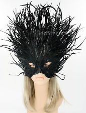 Masquerade Mask Women Black Feather Lion Costume Carnivale New Years Ball Brazil