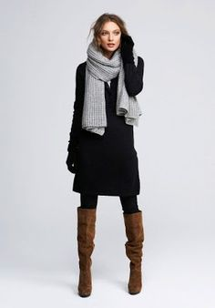 Winter fashion | Black coat and pants with brown boots and scarf