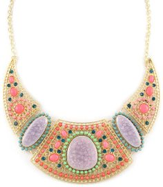 Beaded Collar Drop Statement Necklace (Pink) - $25