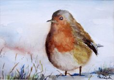 Robin in the Snow - print of my original watercolor painting by BillsVintageVault on Etsy https://www.etsy.com/listing/211702445/robin-in-the-snow-print-of-my-original