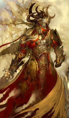 View an image titled 'Balthazar Concept Art' in our Guild Wars: Eye of the North art gallery featuring official character designs, concept art, and promo pictures. Dark Fantasy, Fantasy Armor, Fantasy World, Fantasy Life, Digital Art Illustration, Fantasy Illustration, Fantasy Creatures, Mythical Creatures, Art Steampunk