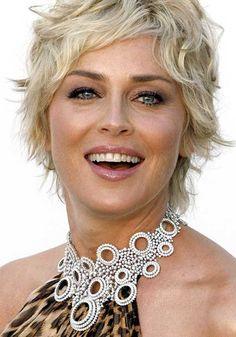 Sharon Stone Short Wavy Hair