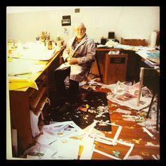 Eric Carle in his studio