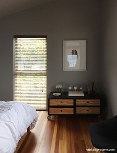 For the bedrooms, Donna went with grey, painting the walls and ceilings in Resene Foggy Grey.
