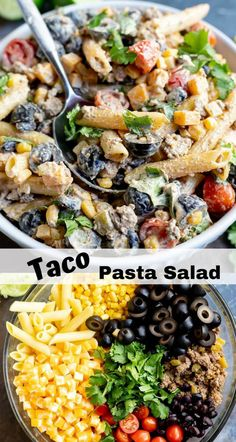 This Taco Pasta Salad Recipe is just in time for those summer barbecues. A cold … This Taco Pasta Salad Recipe is just in time for those summer barbecues. A cold pasta salad side dish with a fun taco twist will be a hit! Top Recipes, Side Dish Recipes, Mexican Food Recipes, Cooking Recipes, Meal Recipes, Recipies, Pate A Tacos, Pasta Salat, Clean Eating