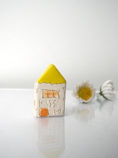 KISS ME...My little Clay Houses - Handmade miniature ceramics houses, Spring and Summer ceramic house