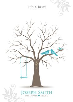Baby Shower Gift Thumbprint Tree Guest Book Poster by TJLovePrints, $36.00