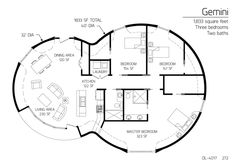 Monolithic Dome Gemini 1833 sf 3 bedrooms