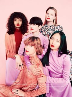 Malaika Firth, Lara Mullen, Polina Oganicheva, Irina Kravchenko and Ling Chen in Valentino photographed by Erik Madigan Heck for Harper's Bazaar UK, August 2017.