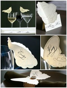 Paper cutout place cards