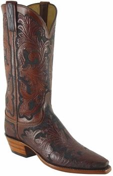 Ladies Lucchese Classics Leggenda Collection Hand Tooled Leather Custom Hand-Made Western Boots L4614